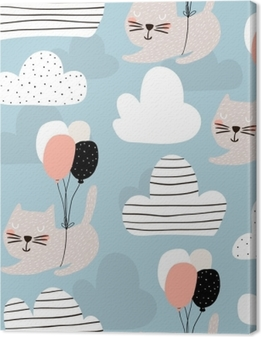 Premium Baskilar Balon ile uçan şirin kedilerle kesintisiz çocukça desen. yaratıcı kreş arka plan. çocuklar için mükemmel tasarım, kumaş, sarma, duvar kağıdı, tekstil, hazır giyim