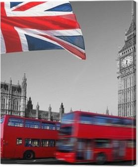 Premium Bilder Big Ben mit Stadtbussen und Flagge von England, London