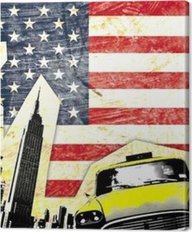 Premium Bilder Drapeau américain avec statue de la liberté Taxi jaune