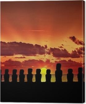 Premium Bilder Fünfzehn Moai bei Sonnenuntergang in Osterinsel