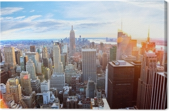 Aerial view of Manhattan skyline at sunset, New York City Premium prints