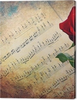 Antique musical score with red rose Premium prints