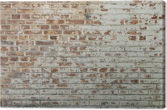 Background of old vintage dirty brick wall with peeling plaster Premium prints