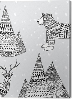 bear, deer and mountain hand drawn winter pattern Premium prints