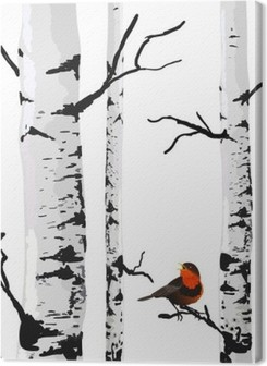 Bird of birches, vector drawing with editable elements. Premium prints