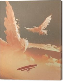 birds shaped cloud in sunset sky,illustration painting Premium prints