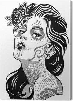Black and White Day of Dead Girl Vector Illustration Premium prints