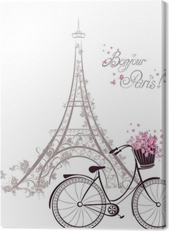 Bonjour Paris text with Eiffel Tower and bicycle Premium prints