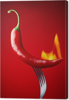 burning red chili pepper on red background Premium prints