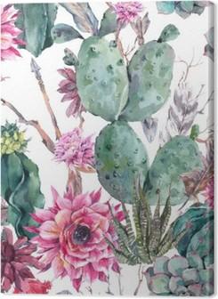 Cactus watercolor seamless pattern in boho style. Premium prints