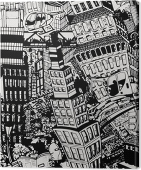 City, an illustration of a large collage, with houses, cars and people Premium prints