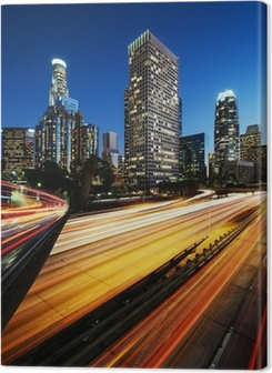City of Los Angeles California at sunset with light trails Premium prints