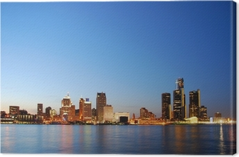 City skyline by night (Detroit, Michigan) Premium prints