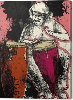conga player - a hand drawn grunge illustration Premium prints
