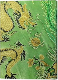 dragon and phoenix, chinese silk embroidery Premium prints