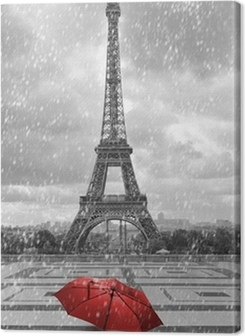 Eiffel tower in the rain. Black and white photo with red element Premium prints