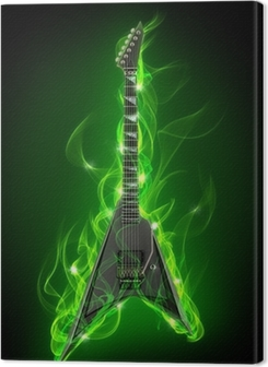 Electric guitar in green fire and flame Premium prints