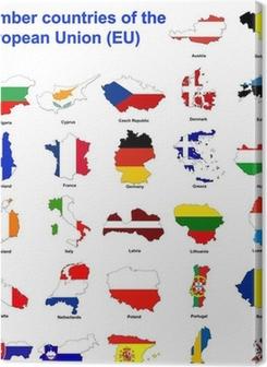 EU countries flag maps Premium prints