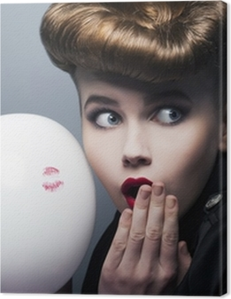 Expression. Surprised pin-up shopper girl with balloon Premium prints