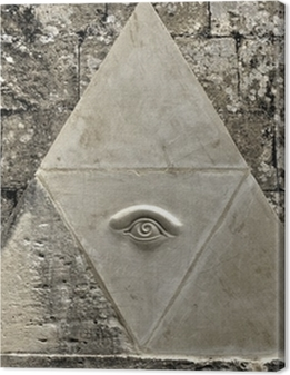 Eye of Providence symbol etched in limestone Premium prints