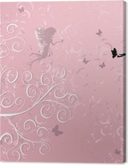 Flower Fairy near patterned wood Premium prints
