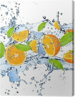 Fresh oranges in water splash,isolated on white background Premium prints