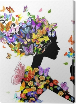 girl fashion flowers with butterflies Premium prints