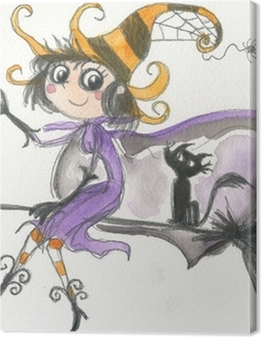 Halloween witch on broomstick watercolor Premium prints