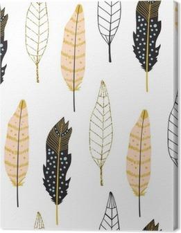 Hand Drawn Feathers Seamless Pattern Premium prints