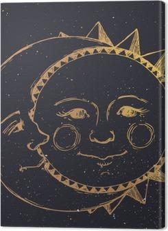 Hand drawn sun with moon Premium prints