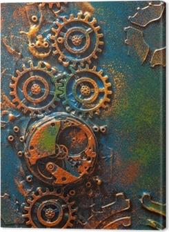 handmade steampunk background mechanical cogs wheels clockwork Premium prints