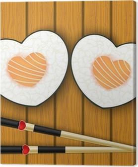 Heart-shaped sushi and chopsticks Premium prints