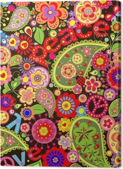 Hippie wallpaper with colorful spring flowers Premium prints
