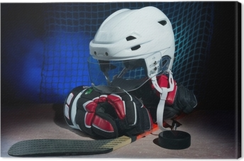 Hockey gloves,helmet and stick lay on ice. Premium prints