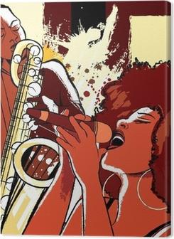 jazz singer and saxophonist on grunge background Premium prints