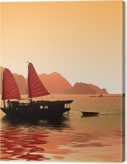 Jonque dans la baie d'Halong - Vietnam Premium prints