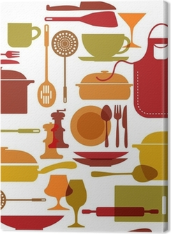 kitchenware set with fork, knife, pot and apron Premium prints