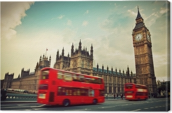 London, the UK. Red bus in motion and Big Ben Premium prints