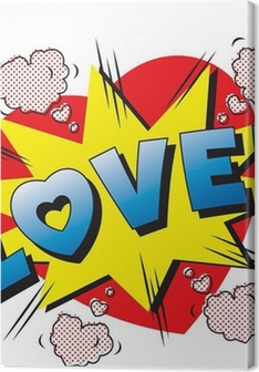 Love cartoon explosion. Falling in love. Love firework. Premium prints