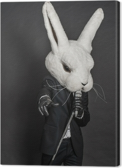 man in rabbit mask . black suit sing on dark background Premium prints