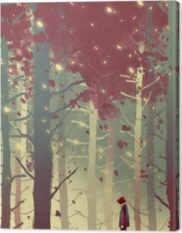 man standing in beautiful forest with falling leaves,illustration painting Premium prints