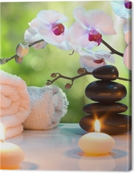 massage composition spa with candles, orchids, stones in garden Premium prints