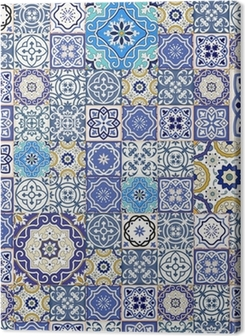 Mega seamless patchwork pattern from colorful Moroccan tiles Premium prints
