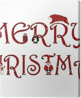 Merry Christmas Sign With Animations - Isolated on white Premium prints