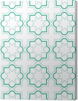 Moroccan geometric tiles seamless pattern, vector tiles design, green and white background Premium prints