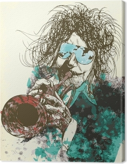 Musician, trumpeter. Hand drawing into vector Premium prints
