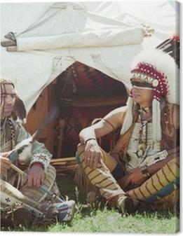 North American Indians sit at a wigwam Premium prints