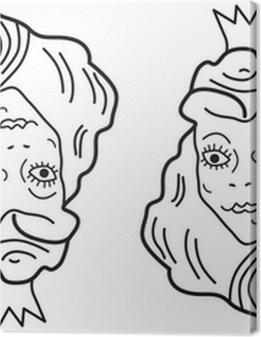 Optical illusion. Young beautiful princess or old ugly woman? Premium prints