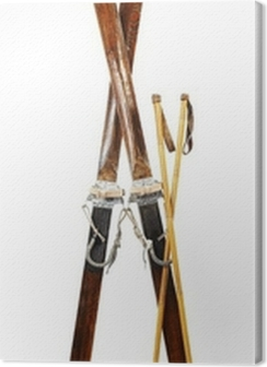 Pair of old wooden alpine skis isolated on white Premium prints