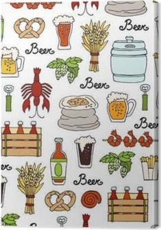 Pattern with hand drawn colored bottle and glass of beer, snacks in sketch style. Pattern on the theme of beer Premium prints